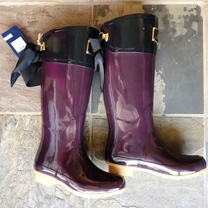 Joules Evedon Burgundy Ribbon Wellies Rainboots